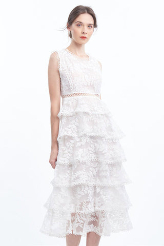 PREORDER: Floral embroidered organza tiered midi dress