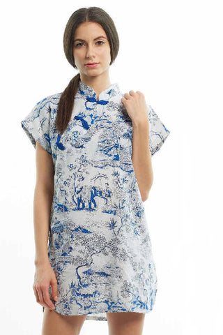 Blue china print boxy qipao
