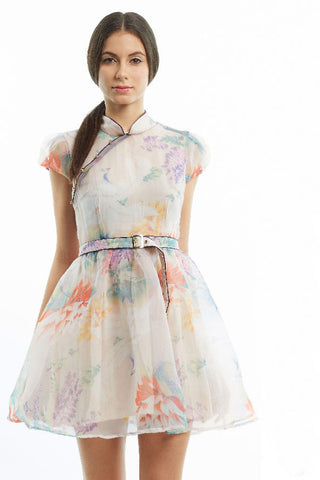 CLEARANCE: Watercolor lily organza full skirt qipao