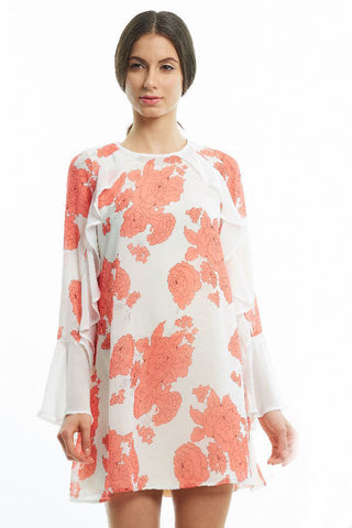 Digital peony print dress with cascading ruffles