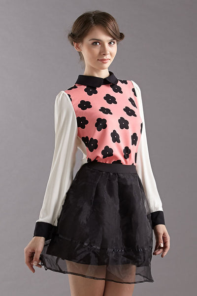 CLEARANCE: Pop art daisy print blouse