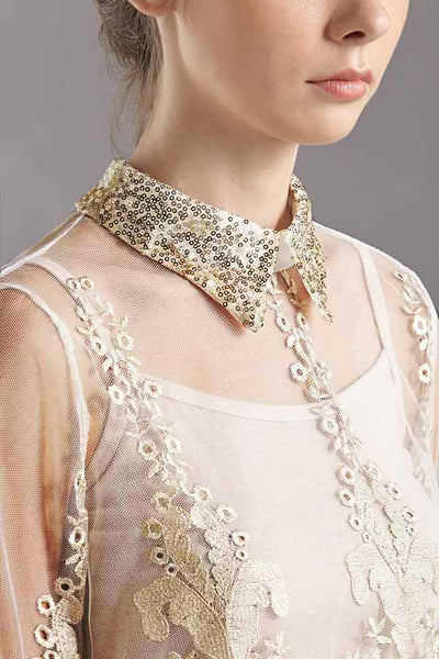 CLEARANCE: Gold sequin embroidered tulle blouse