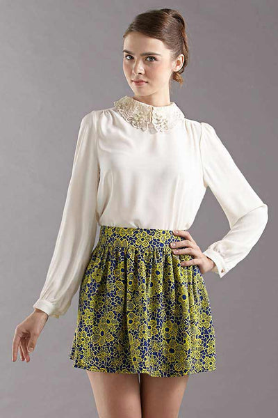 CLEARANCE: Spiral embroidered organza collar blouse