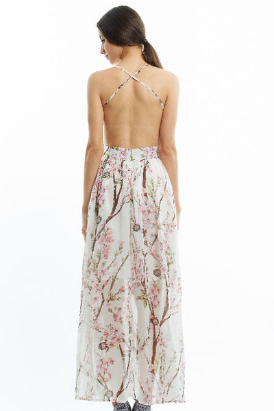 Cherry blossom backless maxi dress