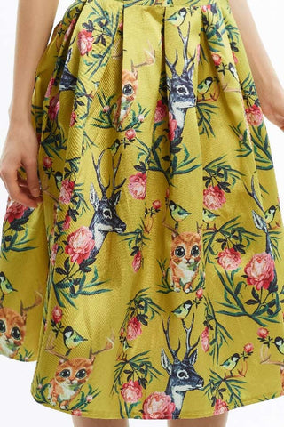Whimsical kitty secret garden print midi full skirt