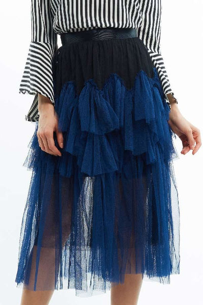 Grosgrain waist tier tulle skirt
