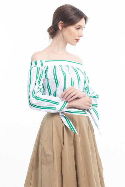 PREORDER: Striped off-shoulder bow-sleeved blouse