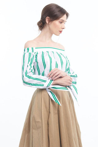 Stripey off-shoulder blouse with bow sleeves (Forest green)