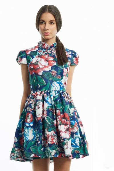 Tropical print full skirt qipao