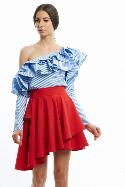 BACKORDER: Striped dramatic ruffled toga blouse