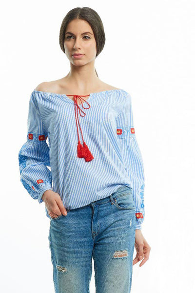 Boho off-shoulder embroidered blouse with balloon sleeves