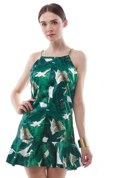 Palm leaf print trumpet skirt dress