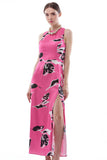 Contrast rose print silk maxi dress with high slit