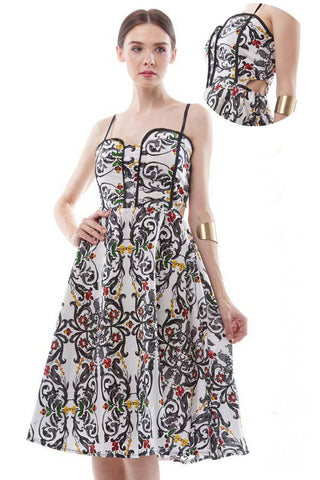 BACKORDER: Baroque print bustier midi dress with side cutouts