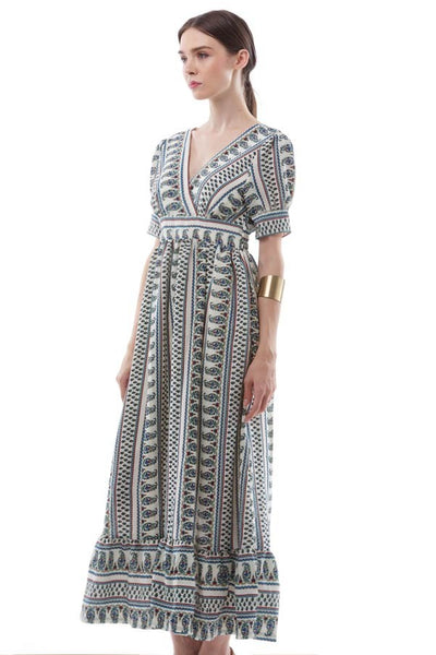 Paisley print maxi dress with flared hem