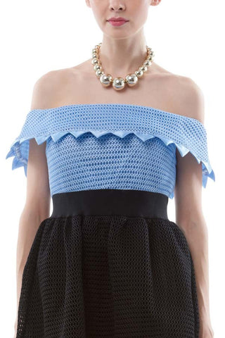 Jagged edge off-shoulder netted dress