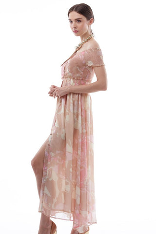 Pastel flora print off-shoulder button-up maxi dress