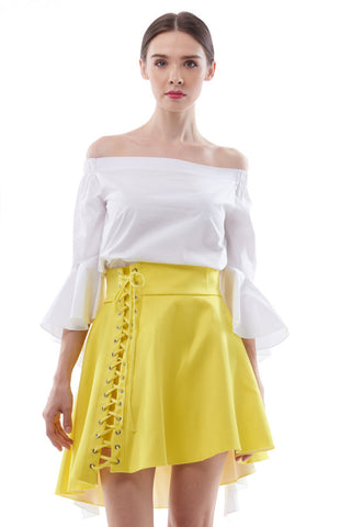 Neon laced-up bias hem skirt