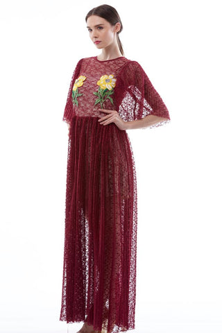 CLEARANCE: Floral embroidered lace maxi dress with pleated skirt
