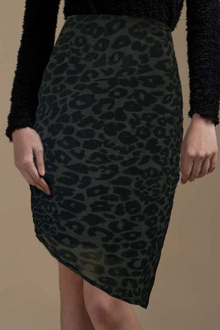 CLEARANCE: Leopard print asymmetric pencil skirt (Khaki green)
