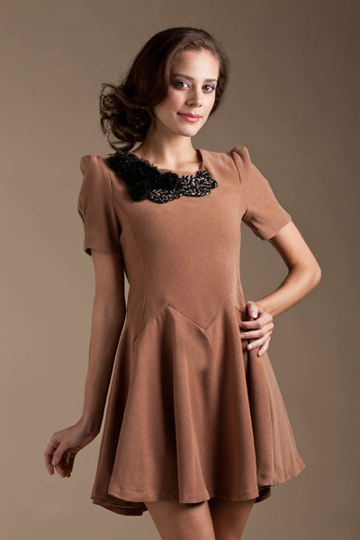 CLEARANCE: Chrysanthemum embellishment swing dress