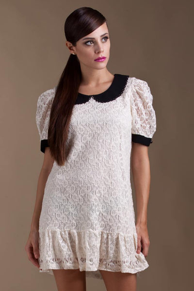 CLEARANCE: Scalloped laser cutout collar lace dress