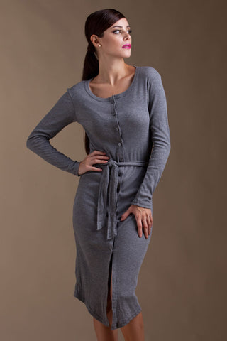 CLEARANCE: Long ribbed cardigan with waist-sash