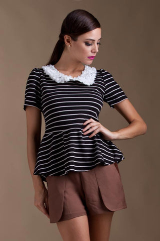 CLEARANCE: Rosette collar striped peplum blouse