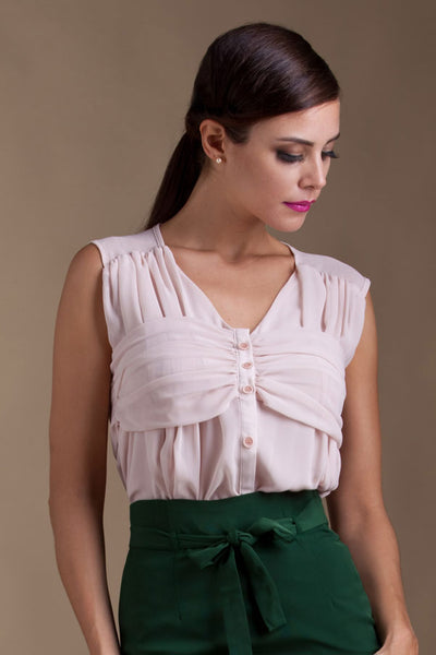 CLEARANCE: Ruched bustier blouse with back-bow