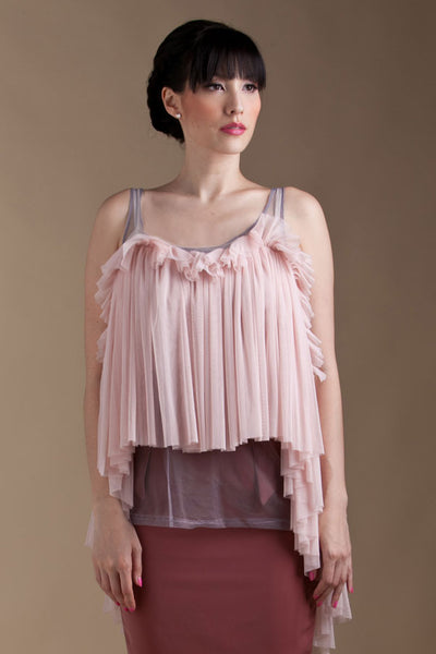 CLEARANCE: Cascading mermaid hem tulle blouse (Pink)