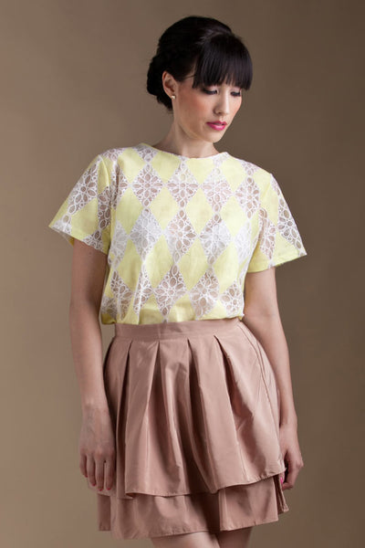 CLEARANCE: Lemon harlequin lace blouse