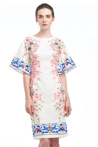 Porcelain sakura print cape-sleeve dress