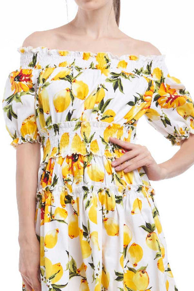 "BACKORDER: ""When life gives you lemons"" off-shoulder dress"