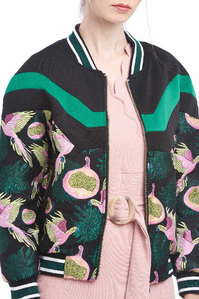 BACKORDER: Cockatoo embroidery brocade bomber jacket