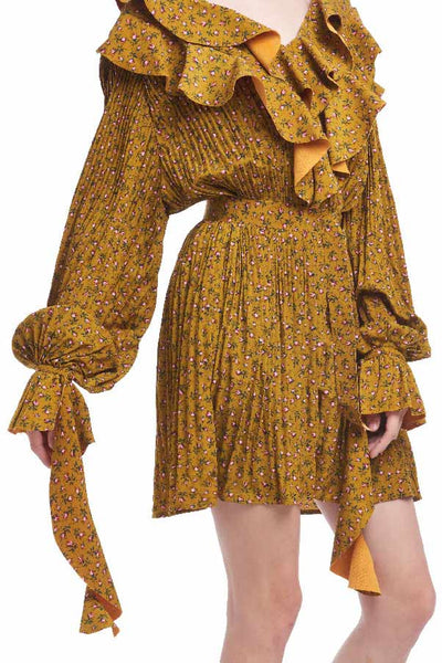 "BACKORDER: ""Yellow from the other side"" dress with cascading sleeves"
