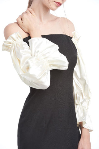 Contrast satin balloon sleeved off-shoulder dress