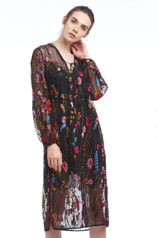 BACKORDER: Wildflower embroidered sheer midi dress with balloon sleeves
