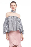BACKORDER: Striped off-shoulder balloon-sleeved blouse with choker
