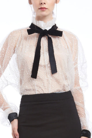Starry highneck tulle blouse with velvet ribbon