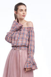 BACKORDER: Plaid button-up off-shoulder blouse with bell sleeves