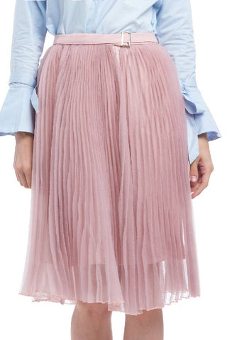 BACKORDER: Buckled wraparound sheer pleated skirt