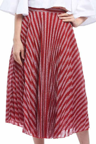 Metallic candy cane pleated midi skirt