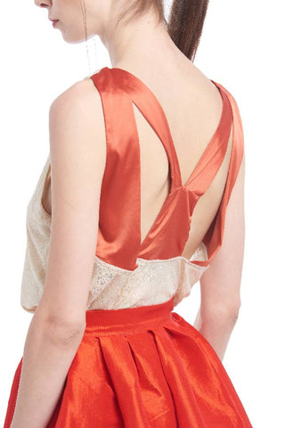 BACKORDER: Tangerine silk geometric cutout tank
