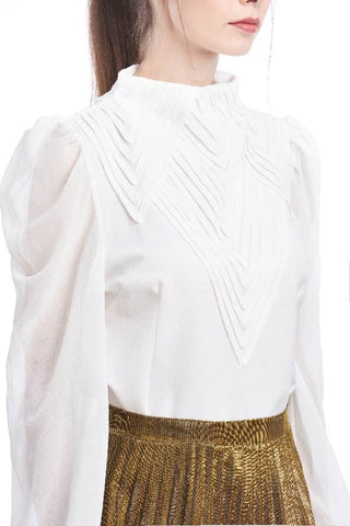 Geometric pleated front highneck blouse