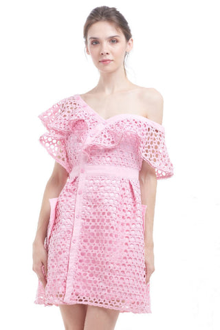 BACKORDER: Candy netted asymmetrical shoulder dress
