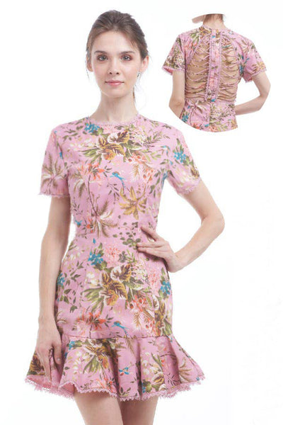 Criss-cross backless tropical print trumpet skirt dress