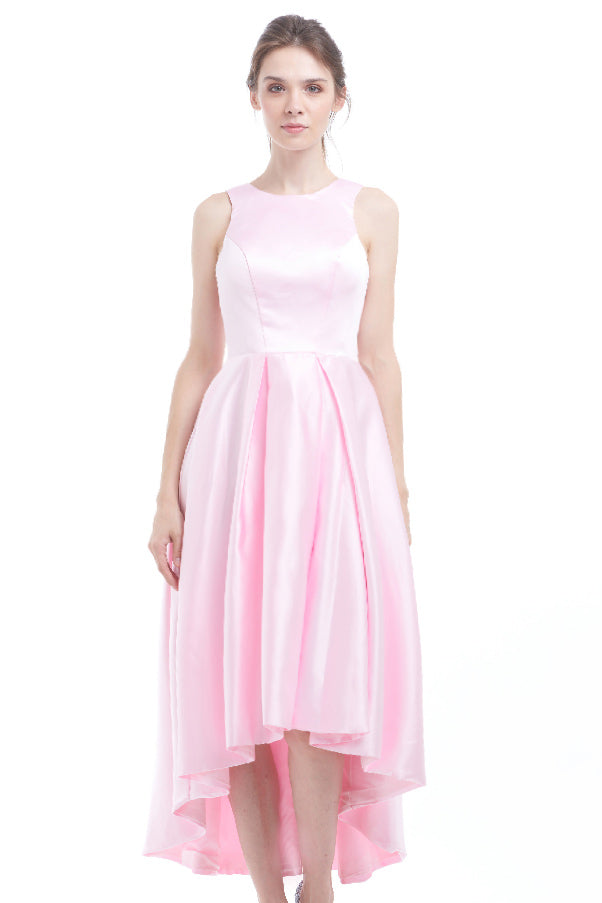 BACKORDER: Frosty pink satin high-low ball gown – Azorias
