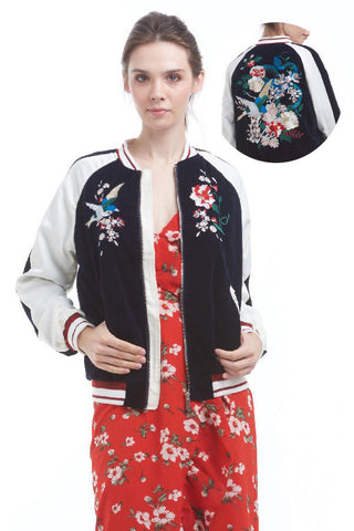 BACKORDER: Botanic embroidered velvet bomber jacket