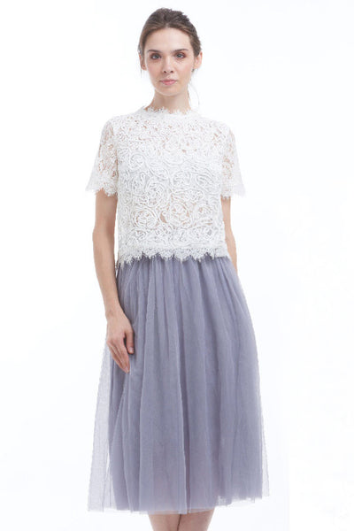 BACKORDER: Midi tulle skirt (Gray)