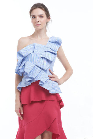 Striped asymmetrical ruffled front blouse